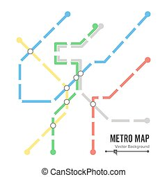 Metro Map Vector. Subway Map Design Template. Colorful Background With Stations