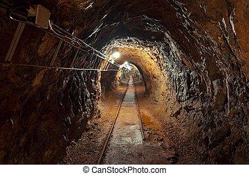 metro, mina, tiro del ángulo, pasaje