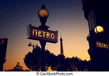METRO sign in Paris - Retro sign METRO in Paris, France