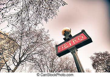 Metro Sign with Tree Branches, Paris