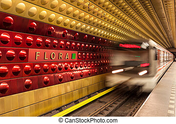 Metro station in Prague. - Train arrives at metro station in...