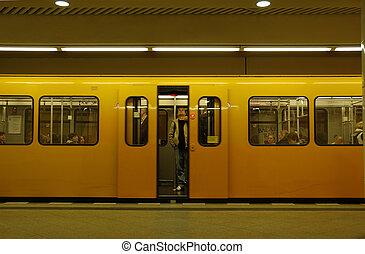Metro Station - Metro ready to depart, Berlin