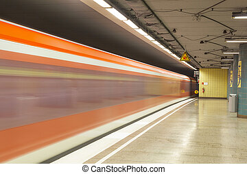 metro station with train in Motion