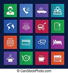 metro, stijl, hotel, en, hotel diensten, iconen