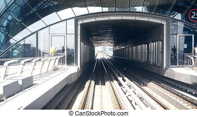 Metro - Dibai, UAE. Metro and skyscrapers