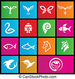 Metro style  animal icons