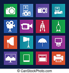 Metro style collection of Camera and accessory icons.Vector EPS10