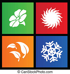 Metro style four seasons icons - vector illustration of...