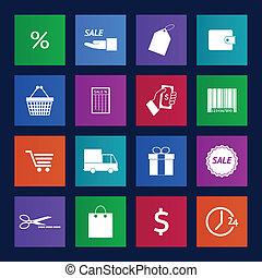 Metro style Shopping icons set. Illustration eps 10