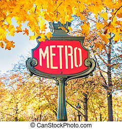 Metro subway station sign in Paris France