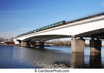 metro, tåg, på, a, bro