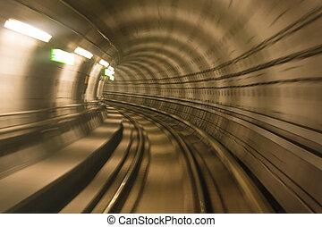 metro, túnel, movimento turvado