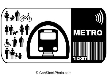 Metro ticket isolated on white background