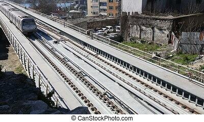 metro train bridge and station 13 - metro train passing and...