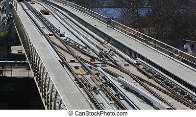 metro train bridge and station 9 - metro train passing and...