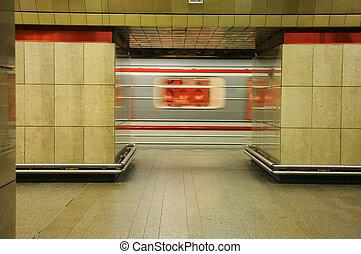 Metro train in motion