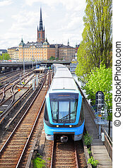Metro train in Stockholm, Sweden