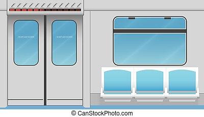 Metro train interior. Vector illustration. EPS 10, opacity