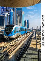 Metro train on the Red line in Dubai, United Arab Emirates