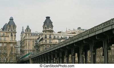 metro train passing overhead, paris, france
