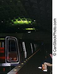 Metro Train Station at Night