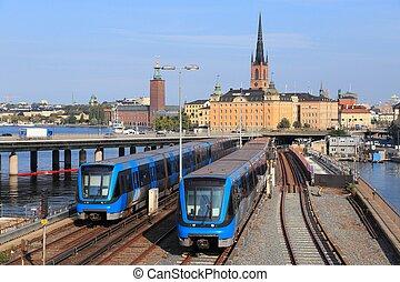Metro trains in Stockholm