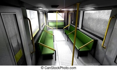 Metro transit interior - 3d animation, empty metro train.