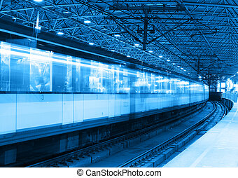metro, trein, beweging onduidelijke plek