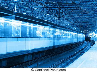 metro, trem, borrão moção