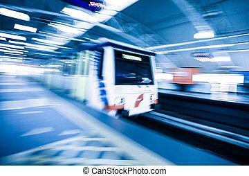 metro, trem, com, borrão moção, efeito