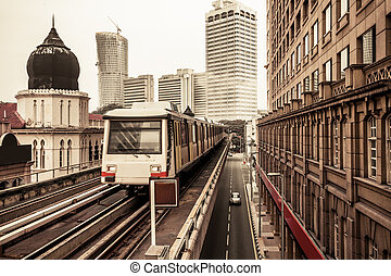 metro, tren, en, kuala lumpur, malasia