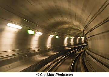Metro tunnel, blurred motion - Blurred motion in metro...