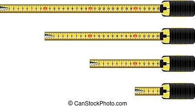 metro, vector, medida, cinta
