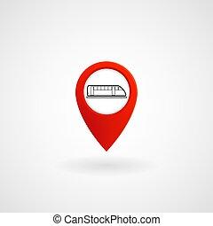 metro, vetorial, localização, estação, vermelho, ícone