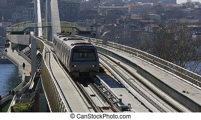metro, zug, brücke, und, station, 2