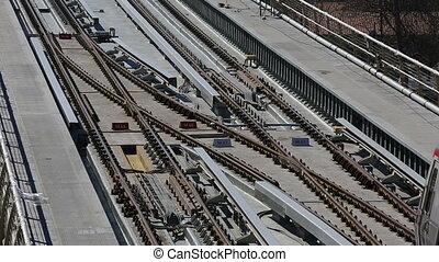 metro, zug, brücke, und, station, 4