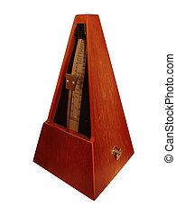 A brown metronome used for keeping cadences