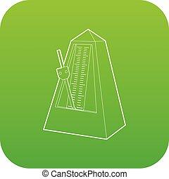 Metronome icon green vector