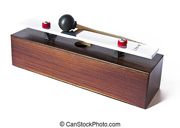 Wooden metronome music timer on the white background