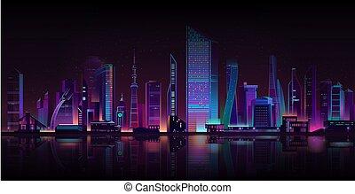 metropole, neon, vektor, grafické pozadí, večer, karikatura