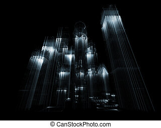 Metropolis - Abstract building structures rendered against...