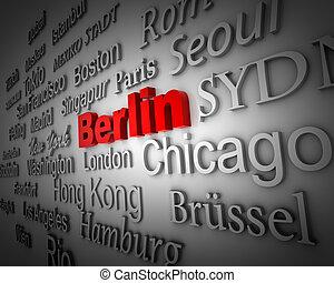 typographical demonstration of big cities - Berlin 3d