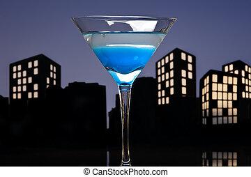 Metropolis Blue Martini cocktail in skyline setting