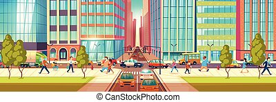 Metropolis busy street cartoon vector concept