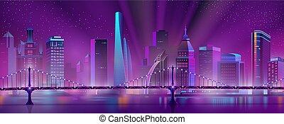 Metropolis downtown night landscape cartoon vector