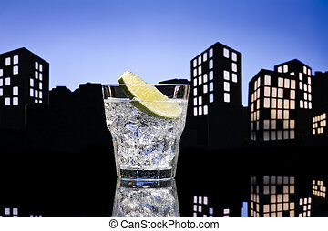 Metropolis Gin Tonic cocktail cocktail in city skyline...