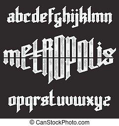 Metropolis modern custom gothic alphabet font. Trendy blue color vector font set