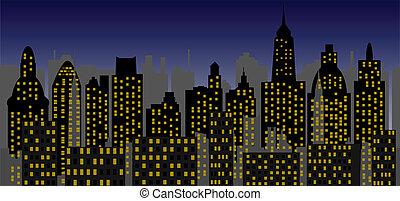 metropolis, közül, új, idő, -, vektor
