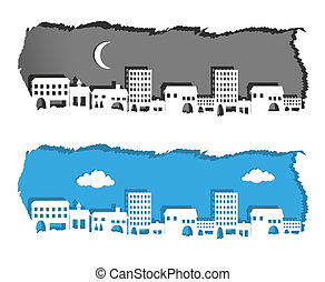 metropolis night and day silhouette on torn paper