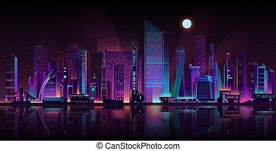 Metropolis night landscape neon cartoon vector